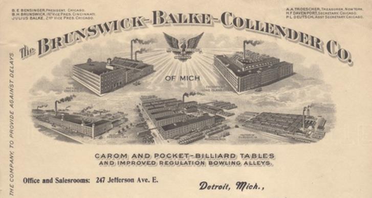 Brunswick Balke Collender Letterhead ca. 1916 Nashville Billiard & Patio