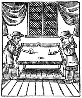Engraving of early billiards game with Obstacles and Targets Charles Cottons 1674 book The Compleat Gamester