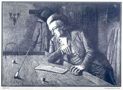 Mozart circa late 1700s studying billiards his 2nd passion