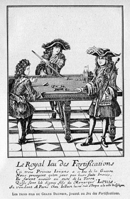 The sons of Louis Grand Dauphin 1661 – 1711 playing the royal game of fortifications early form of obstacle billiard